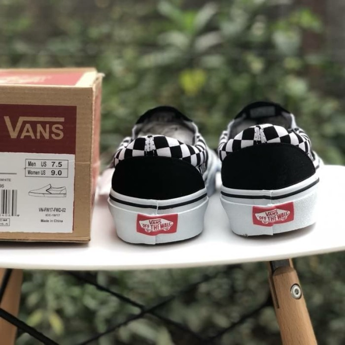 Sepatu Vans Slip On Thrasher Checkerboard Black White - Vans murah - Hitam 0548ebf223