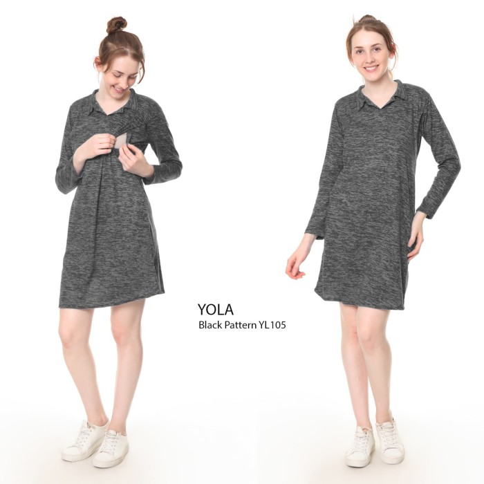 Justmom dress menyusui yola black pattern yl105