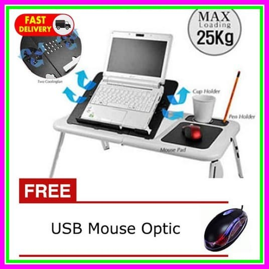 e Table Bonus Mouse Optic, Meja Laptop eTable LD09 e Table Cooling Pad