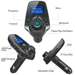 With Display Car Bluetooth MP3 Player FM Transmitter 2USB Charging TF Card Slot