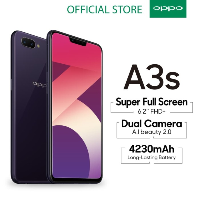 Oppo A3s Smartphone Ai Beauty 2.0 Camera 3gb/32gb Purple - Blanja.com