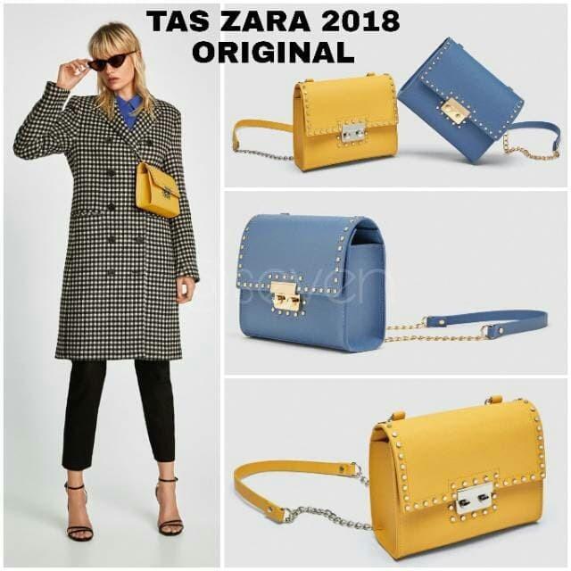 Tas zara wanita import Branded zara tas wanita Zara Double Lock Motif - Hitam