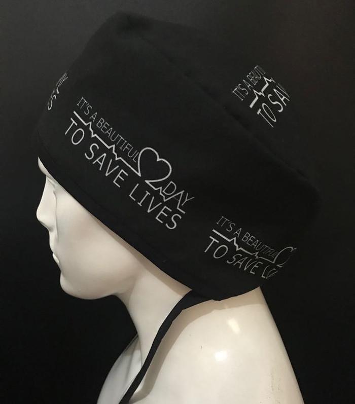 Foto Produk Save lives scrub hats / topi operasi dokter/bidan/perawat dari jiggly scrub hats