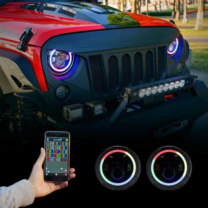 Jeep Halo Headlights >> Jual Auxbeam 7 Led Rgb 90w Halo Ring Jeep Headlights Rgb Bluetooth Kab Sidoarjo Maskevet Tokopedia
