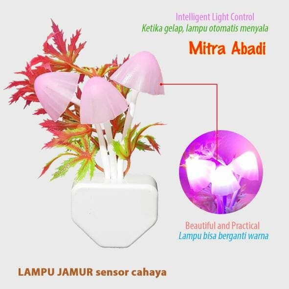 Lampu Tidur LED Jamur Mini Sensor Cahaya