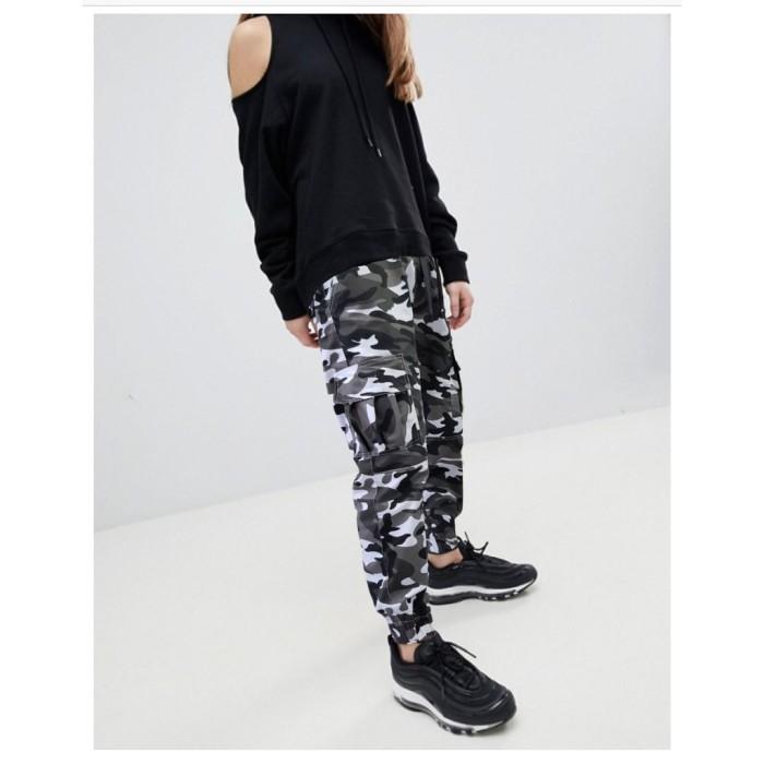 Celana Chino Wanita Motif Loreng Army Celana Cargo Wanita Fashion