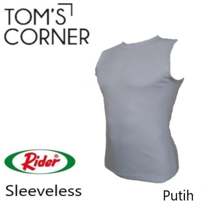 cbdaf888890282 Kaos Dalam   Singlet   Baju Pria Rider Tanpa lengan Putih Fitness Gym -  Putih