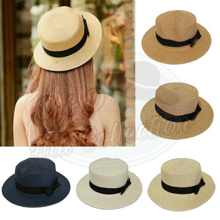 Jual Topi Boater Import Topi Pantai Wanita Straw Hat Pita Hitam - D ... 2f605ce9af