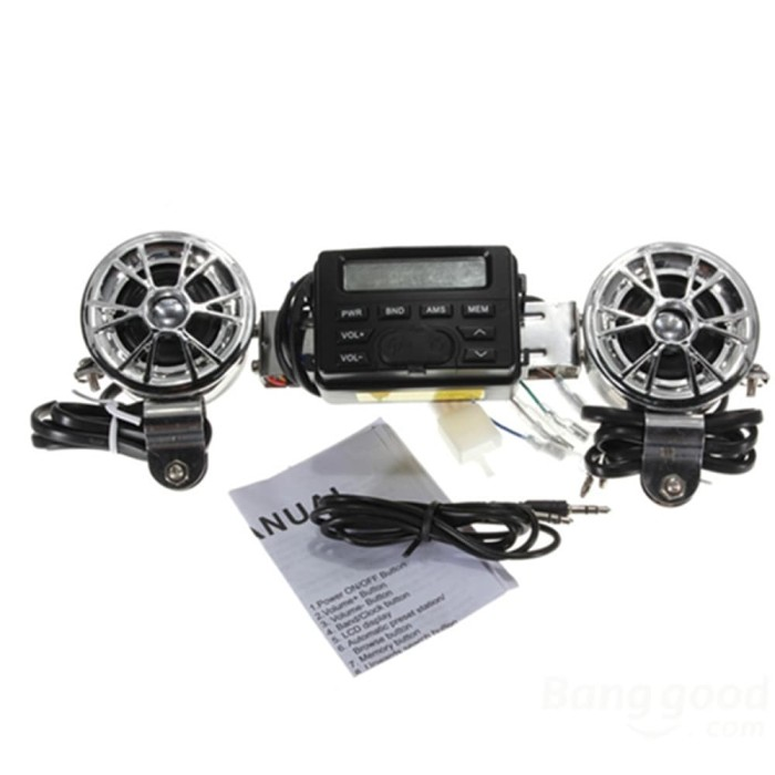 harga Aksesoris audio motor mp3 player fm radio untuk motor dengan 2 speaker Tokopedia.com