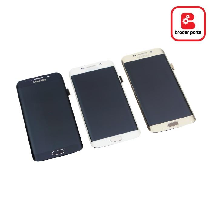 lcd touchscreen samsung s6 edge black gold white original - hitam