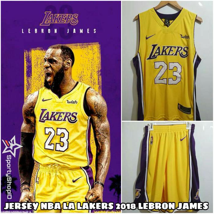 Jual SETELAN JERSEY BASKET NBA LA LAKERS 2018 LEBRON JAMES YELLOW ... dca943dce
