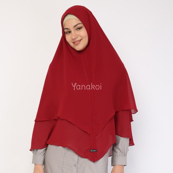 Yanakoi Hijab - Jilbab Khimar Syafa Tanpa Pet Warna Marun