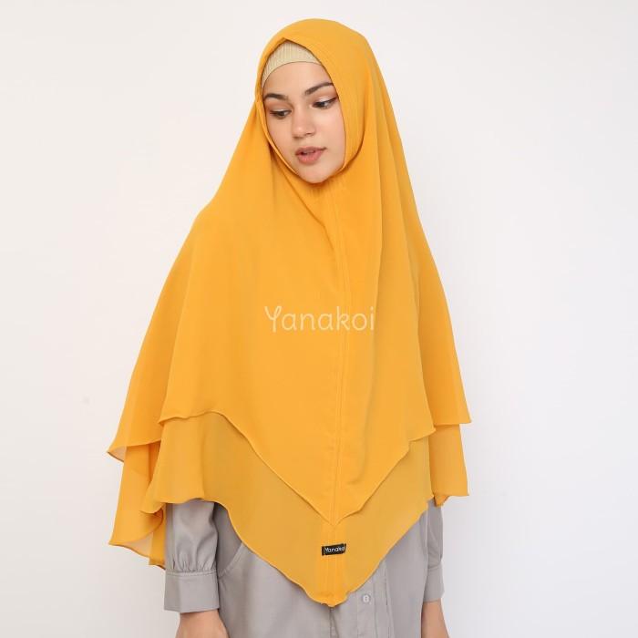 Yanakoi Hijab - Jilbab Khimar Syafa Tanpa Pet Warna Kuning Kunyit - Blanja.com