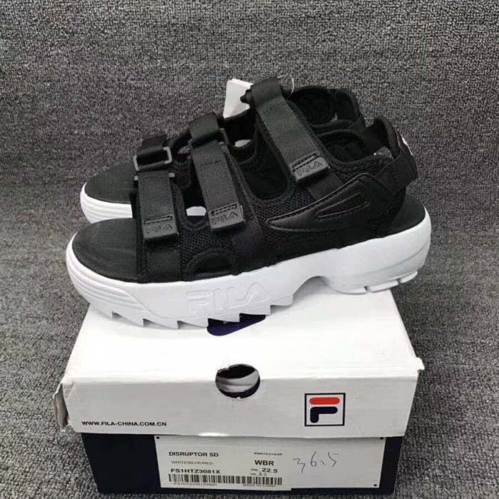 Jual Sepatu Sandal Sendal Wanita Fila Disruptor Black White Premium ... cef215f81e