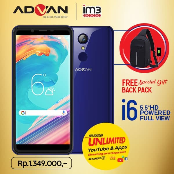 advan i6 unlimited - 2gb/16gb - fullview plus backpack - navy