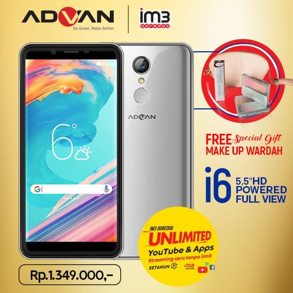 harga Advan i6 unlimited - 2gb/16gb - fullview plus paket kosmetik - emas Tokopedia.com