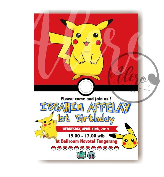 Jual Kartu Undangan Ulang Tahun Anak Pokemon Birthday Card Invitation Jakarta Barat Alero Party Tokopedia