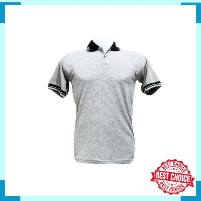 Polo Shirt Kaos Kerah Abu Misty Muda Kombinasi Baju Pria Cowok Polos