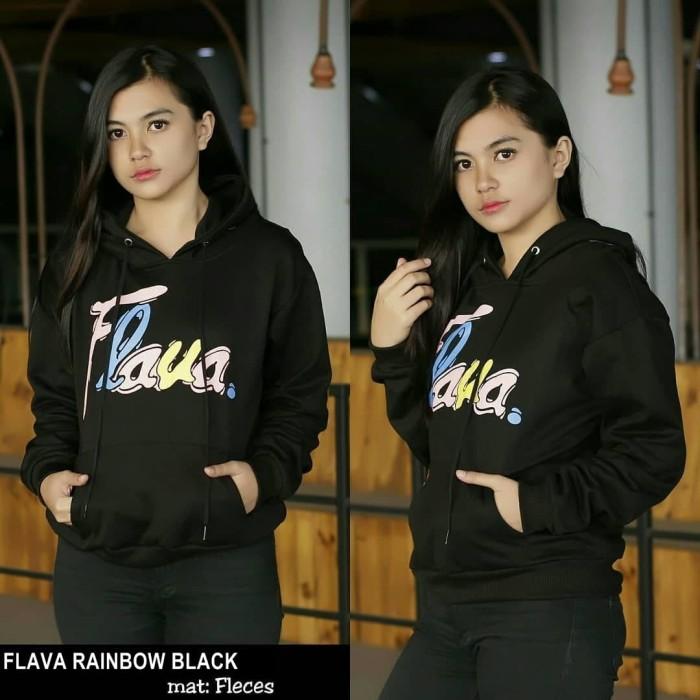 FLAVA RAINBOW grosir jaket sweater hoodie baju atasan wanita murah - Hitam