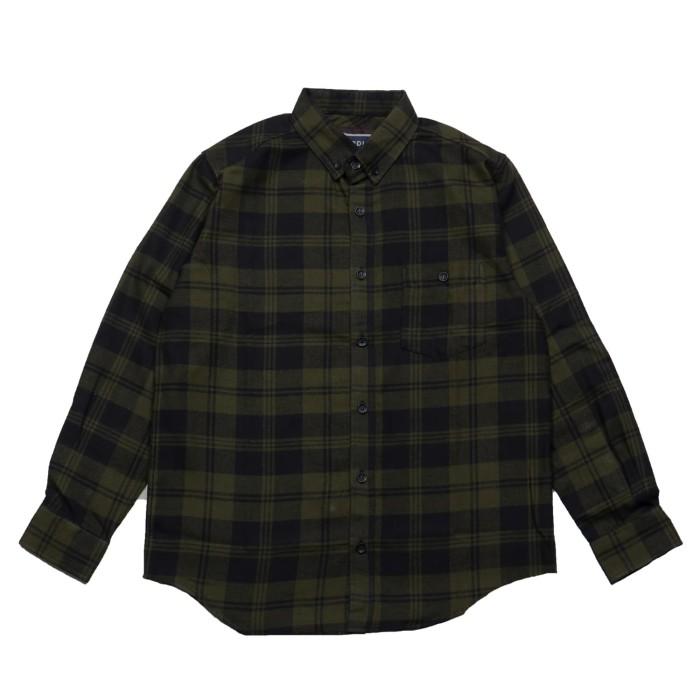 broodis kemeja flanel pria motif terbaru best seller official store - hijau m
