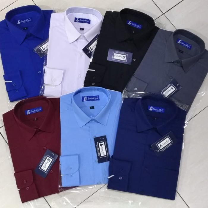 Foto Produk Santa Ricci Kemeja Pria Slimfit Polos Panjang Murah Pilih Warna - Hitam, L dari Mega Hero Shirts