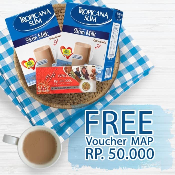 harga Tropicana slim susu non fat chocolate 2 box free voucher map rp 50.000 Tokopedia.com