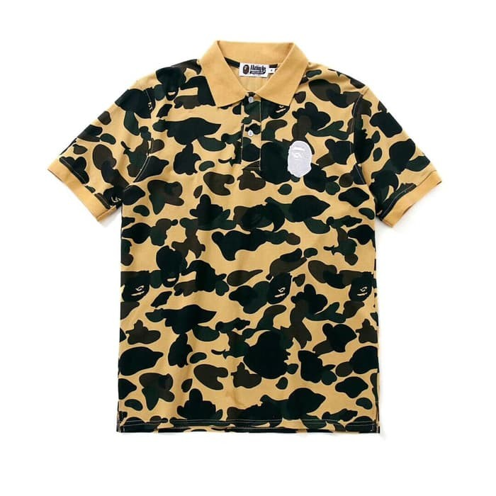4772e84f Jual Polo Bape Camo A Bathing Ape Yellow Camo Tshirt Mirror Quality ...