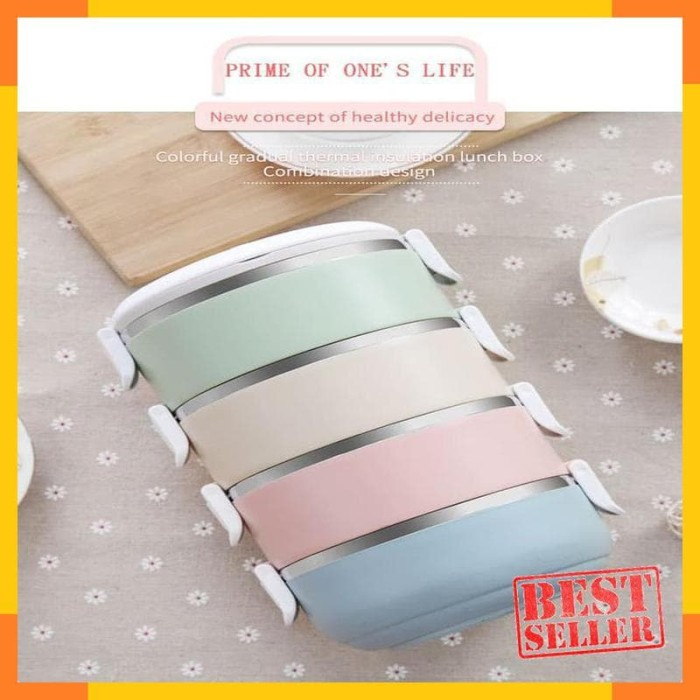 Rantang Kotak Makan Japanese Bento Stainless Steel 4 Layer