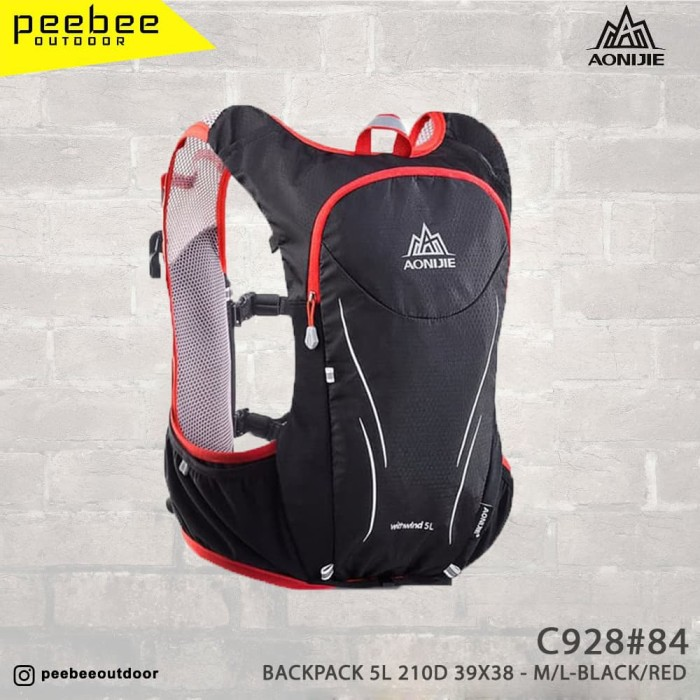 harga Backpack 5l 210d nylon size 39 x 38 cm m l black red Tokopedia.com