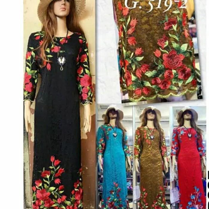 harga Maxi dress brokat bordir import - dress pesta import - gamis import Tokopedia.com