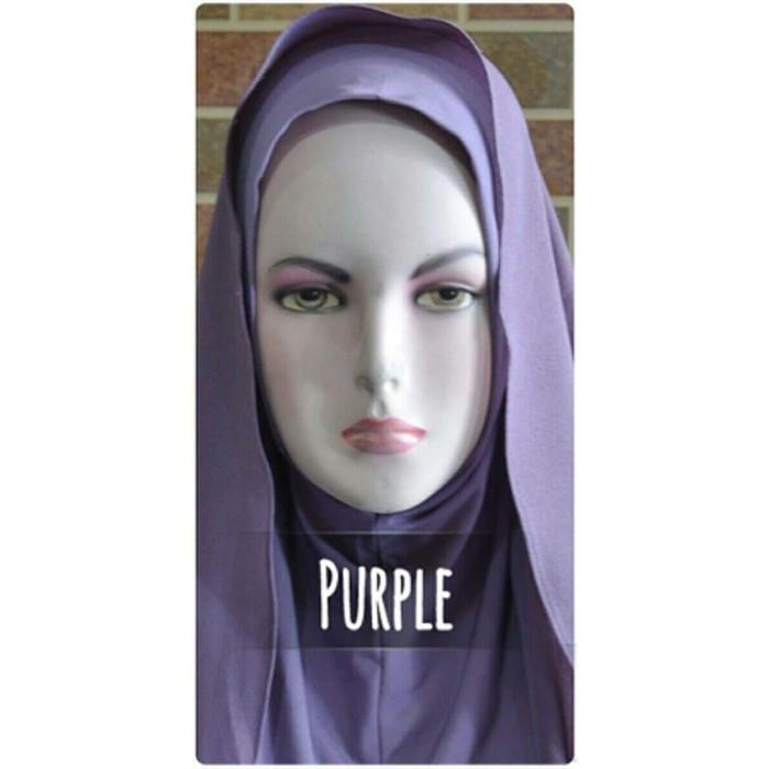Jilbab semi instan warna ungu bahan ceruti diamond ital Murah