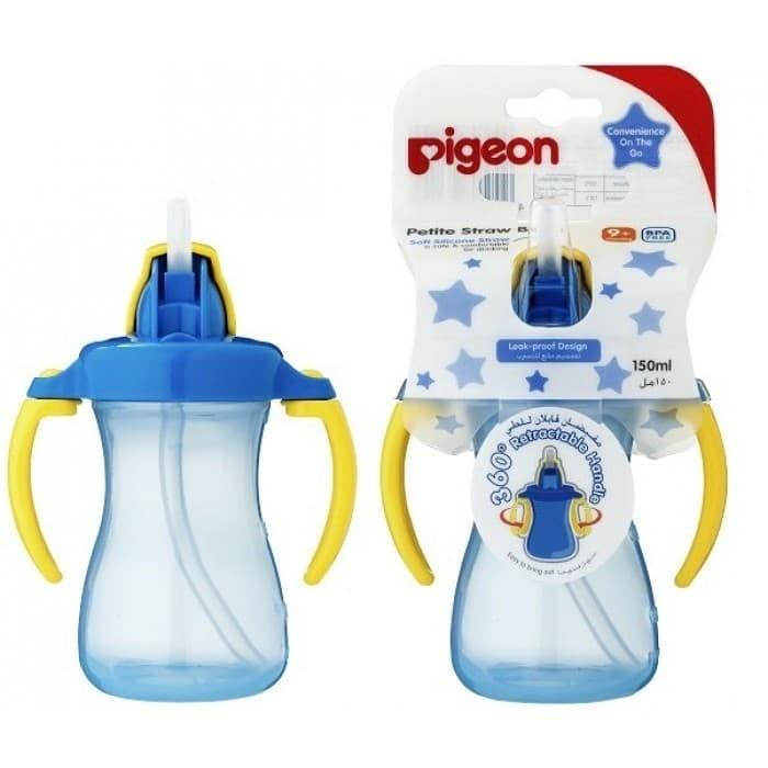 Pigeon Petite Straw Bottle 9m+ / Botol Minum Sedotan Pigeon 9m+ Biru