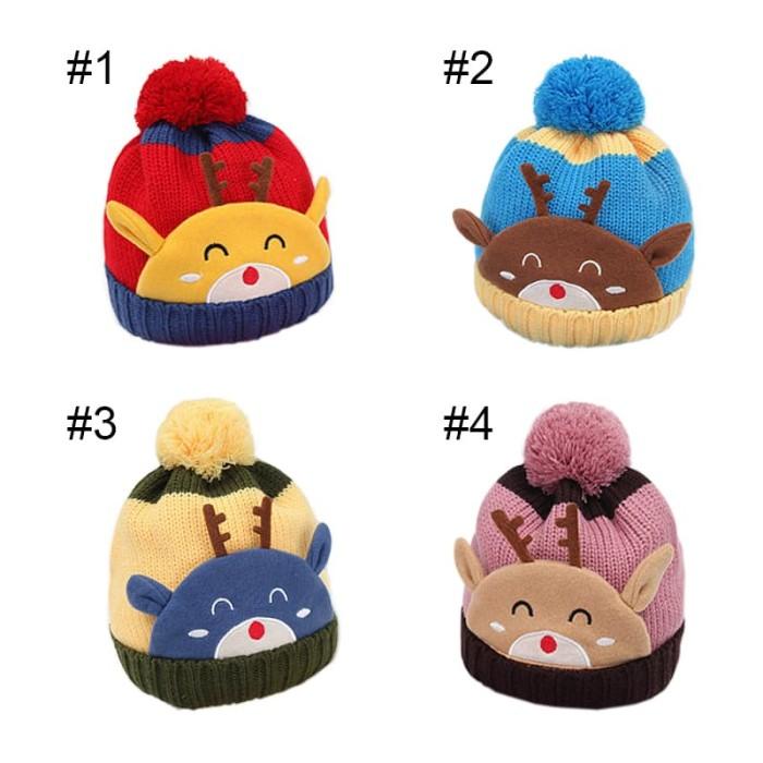 Jual Topi Kupluk Anak Bayi Rajut Rusa Reindeer Baby Hat Knitted