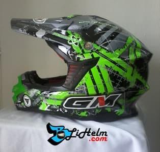 ... harga Helm gm super cross neutron dark grey met green Tokopedia.com