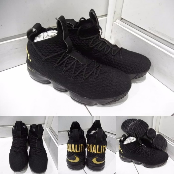 7e050973925d Sepatu Basket Nike Lebron XV 15 Airmax Equality Black Gold Hitam Ema