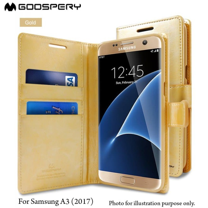 goospery samsung galaxy a3 2017 blue moon diary case - gold