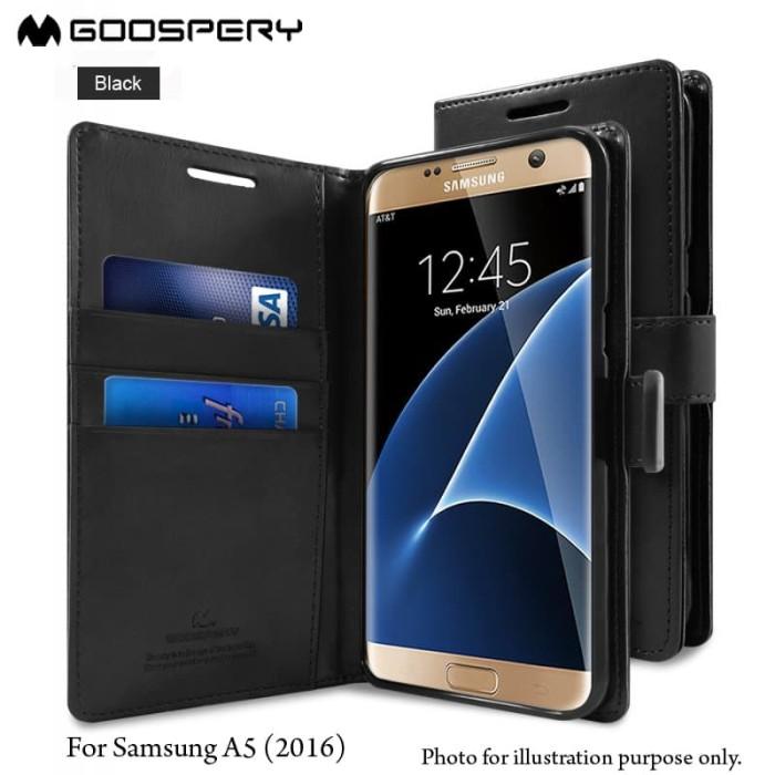 goospery samsung galaxy a5 2016 blue moon diary case - black
