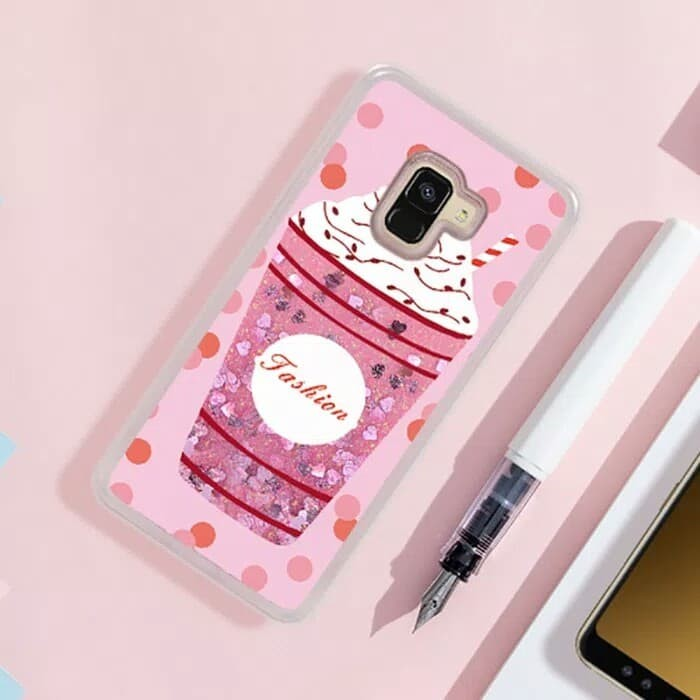 Jual Samsung A8 Plus 2018 Case Jelly Pinky Water Sand Glitter .