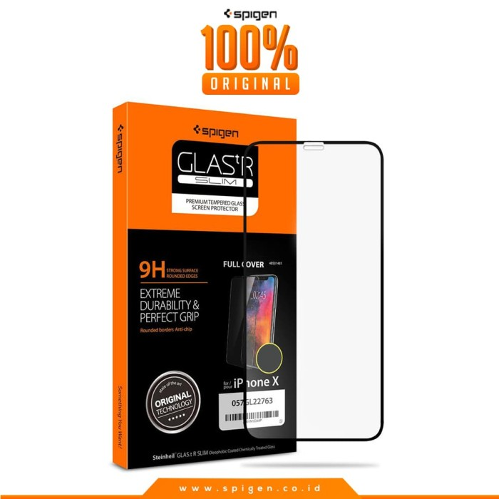 spigen glas tr slim full cover tempered glass for iphone x