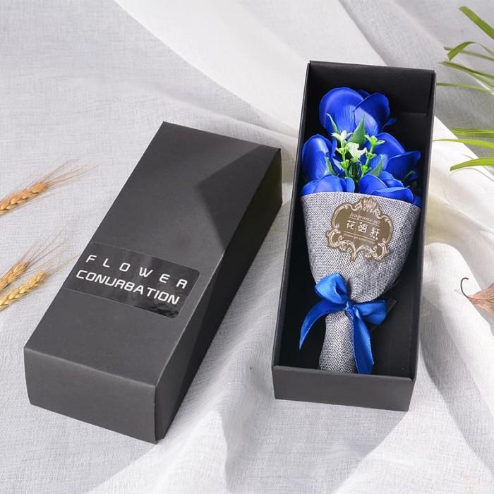 Buket Bunga Mawar Biru Sabun Gift Kado Valentine Bouquet Roses 5 Soap