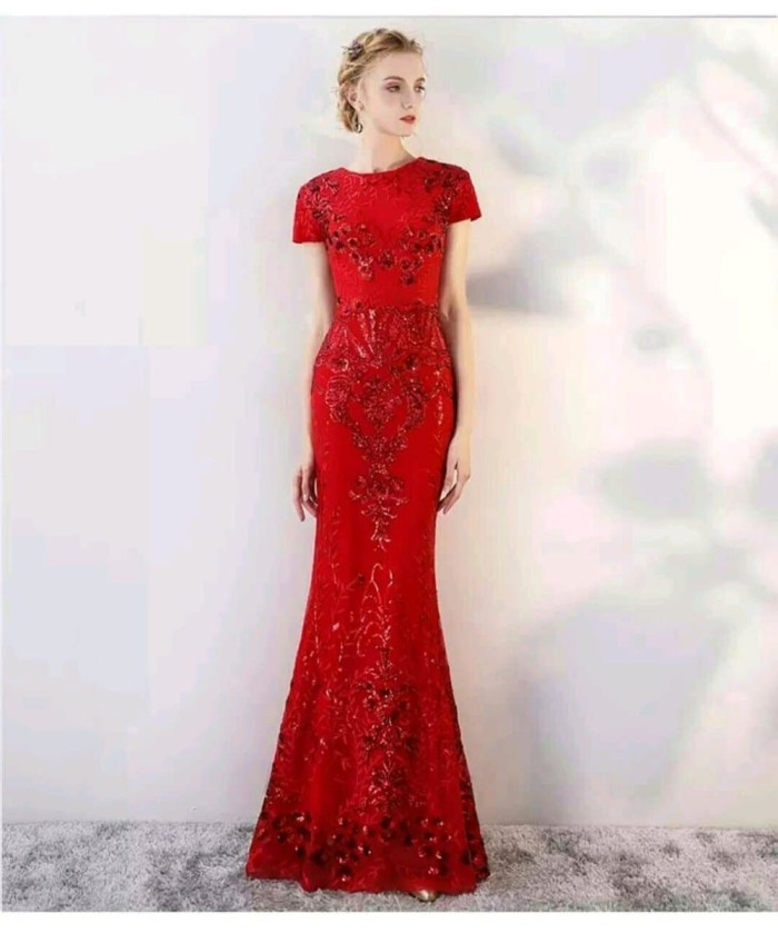 Jual Gaun Pesta Sequin Gold Hitam Merah Dress Big Size 3 Warna
