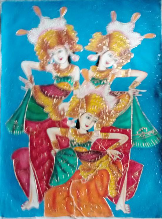 harga Lukisan 3 penari legong bali(bali dancer painting) 60x80 kanvas saja e Tokopedia.com