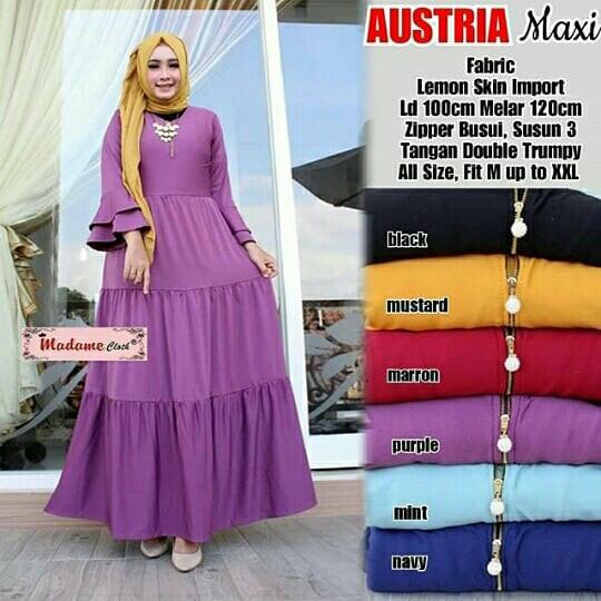 Austria Gamis Payung Susun Puff Busui Jersey Lemon Dress Muslim Murah