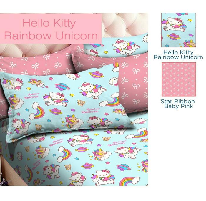 Jual Bed Cover Set Katun Halus Hello Kitty Rainbow Unicorn 160x200