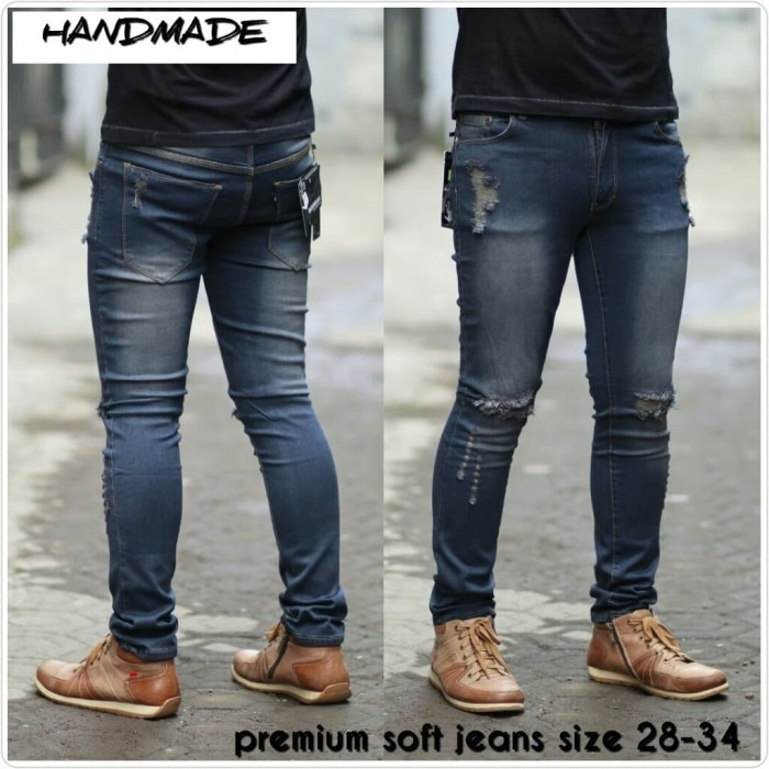 Celana jeans pria ripped sobek / robek lutut model skinny / pensil - Navy, XL