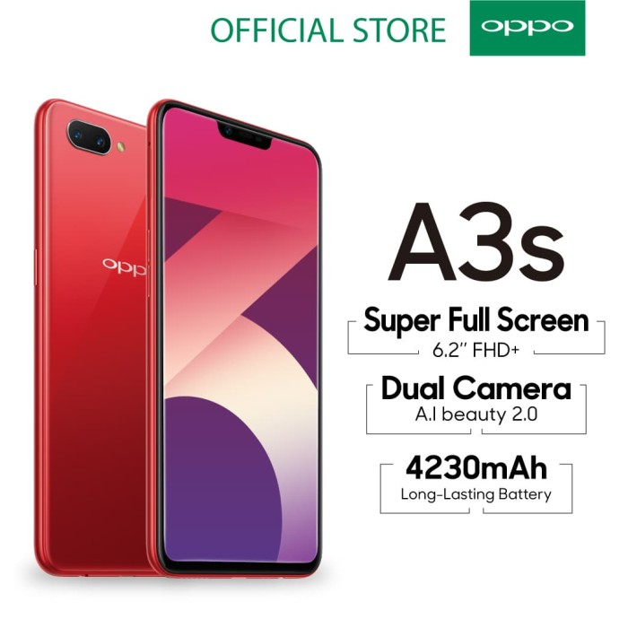 Oppo A3s Smartphone Ai Beauty 2.0 Camera 3gb/32gb Red - Blanja.com