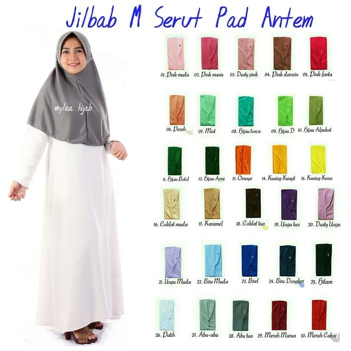 jilbab instan serut anak sekolah size M bahan kaos PE merah marun