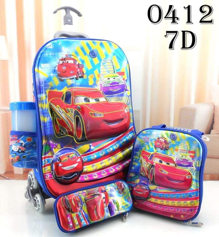 Tas Troli trolly troly 7D 4in1 set Cars Mcqueen OL3027 4 in 1 - Cars Biru 7b47b08a95