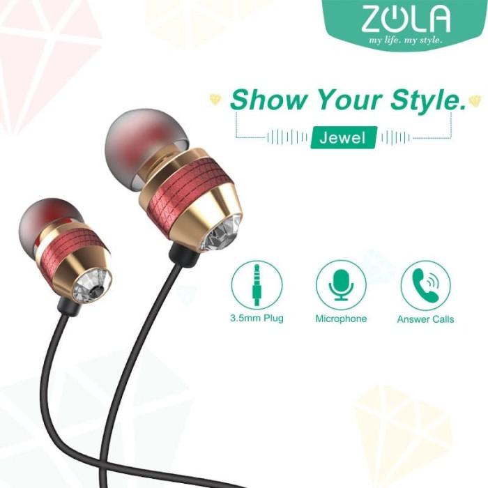 zola jewel stylish in-ear earphone handsfree sound isolation-white - emas