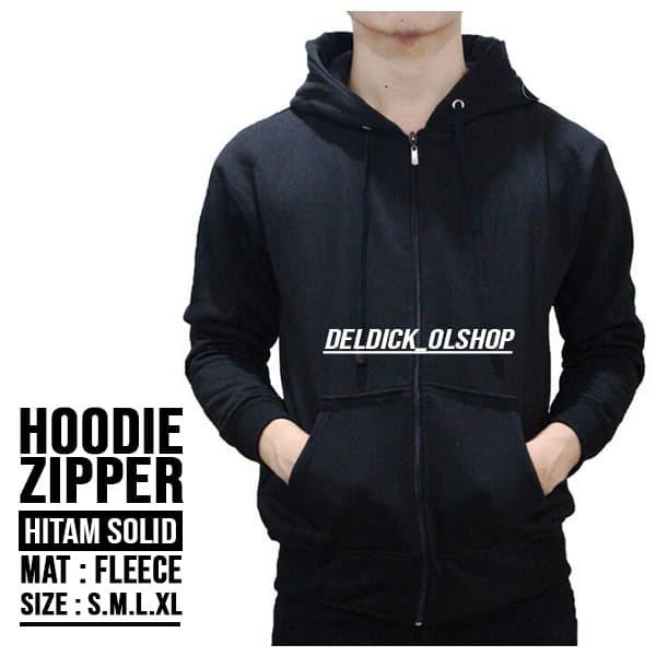 Premium Quality Sweater Hoodie Zipper Polos Fleece - Hitam, M